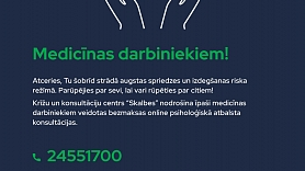 Medicīnas darbiniekiem pieejams bezmaksas psiholoģiskais atbalsts